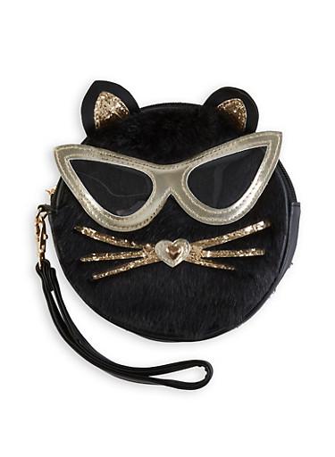 Round Faux Fur Cat Wristlet,BLACK,large