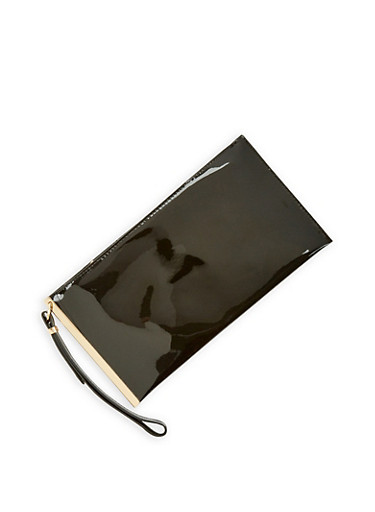 Faux Patent Leather Metallic Bar Clutch,BLACK,large