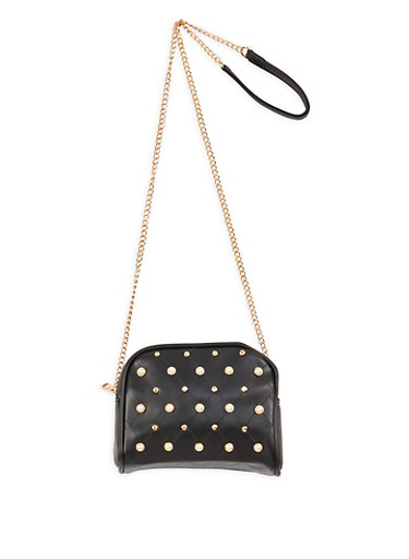 Faux Pearl Studded Double Zip Crossbody Bag,BLACK,large