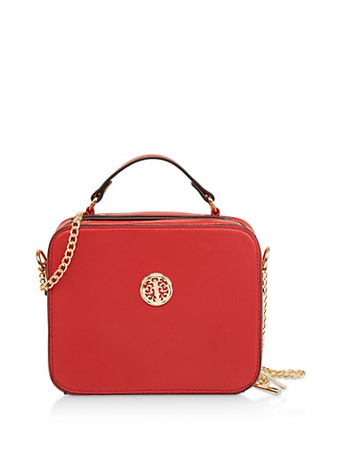 Square Faux Leather Crossbody Bag,RED,large