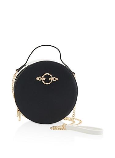 Two Tone Circular Crossbody Bag,BLACK,large