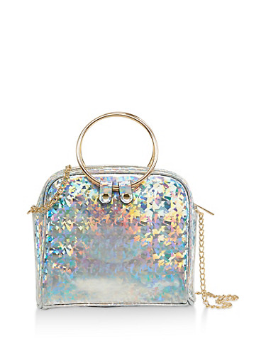Square Holographic Crossbody Bag,SILVER,large