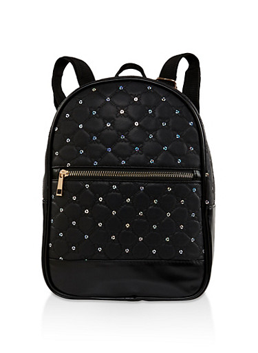 Sequin Quilted Backpack,BLACK,large