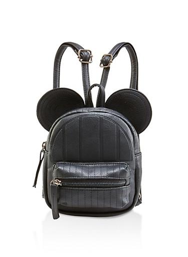 Animal Ear Mini Faux Leather Backpack,BLACK,large