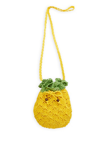 Pineapple Straw Crossbody Bag,YELLOW,large