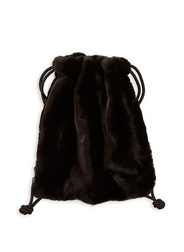 Drawstring Faux Fur Backpack,BLACK,large