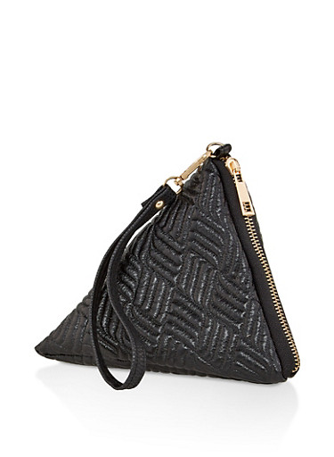 Faux Leather Pyramid Wristlet,BLACK,large