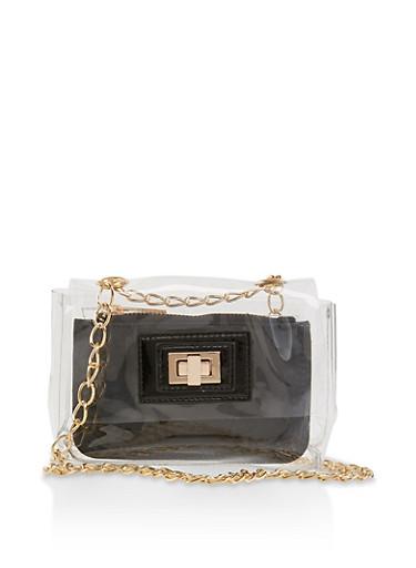 Small Clear Crossbody Bag,BLACK,large