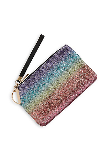 Rainbow Glitter Zip Clutch,PINK,large