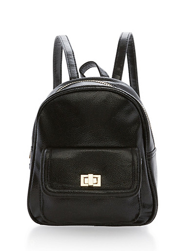 Textured Faux Leather Mini Backpack,BLACK,large