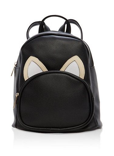Faux Leather Animal Ear Backpack,BLACK,large