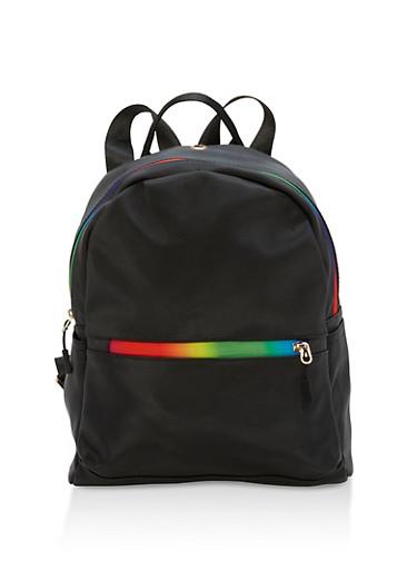 Rainbow Zipper Mini Backpack,BLACK,large