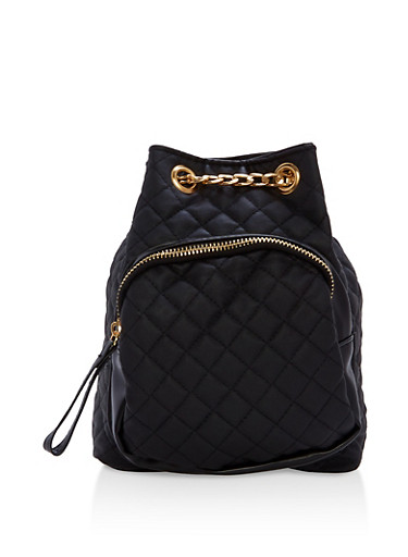 Quilted Faux Leather Mini Backpack,BLACK,large