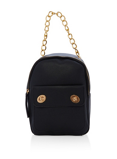 Textured Faux Leather Small Chain Strap Backpack,BLACK,large