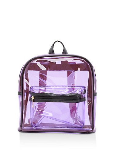 Clear Plastic Double Zip Backpack,LILAC,large