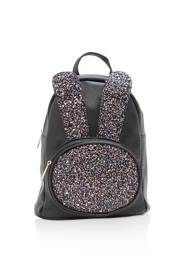 Glitter Bunny Ear Faux Leather Backpack,BLACK,large