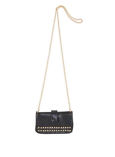 Faux Saffiano Leather Studded Crossbody Bag,BLACK,large