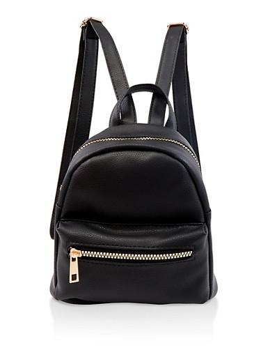 Mini Faux Leather Backpack,BLACK,large