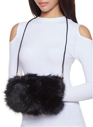 Faux Fur Muff Crossbody Bag,BLACK,large