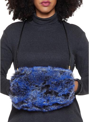Faux Fur Muff Crossbody Bag,CHARCOAL,large