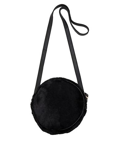 Round Faux Fur Crossbody Bag,BLACK,large