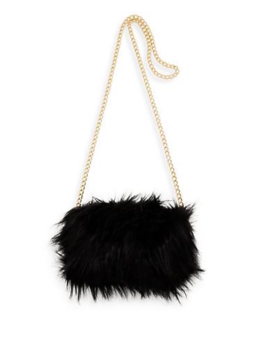 Faux Fur Chain Crossbody Bag,BLACK,large