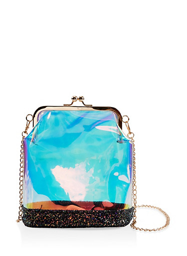 Iridescent Kiss Lock Crossbody Bag,MULTI COLOR,large
