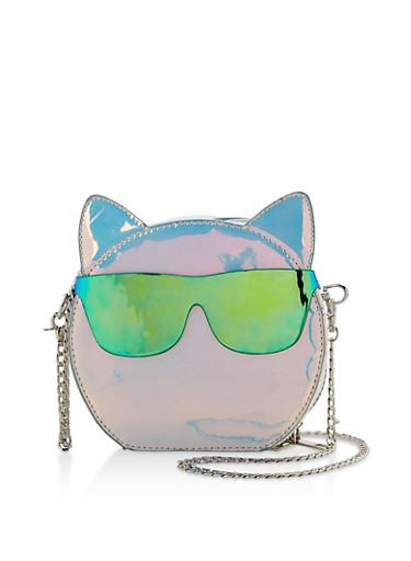 Iridescent Cat Crossbody Bag,SILVER,large