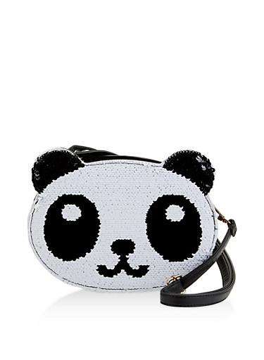 Reversible Sequin Panda Crossbody Bag,BLACK,large