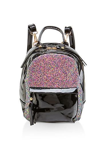 Small Glitter Faux Patent Leather Backpack,BLACK,large