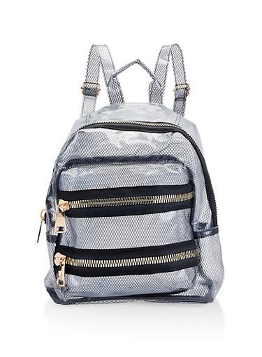 Clear Fishnet Backpack,BLACK,large
