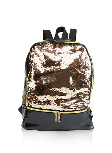 Reversible Sequin Faux Patent Leather Backpack,ROSE,large
