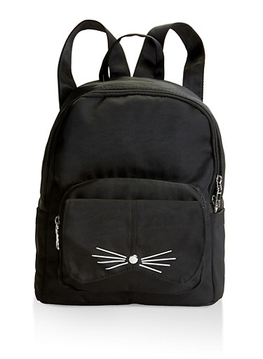 Cat Graphic Backpack,BLACK,large