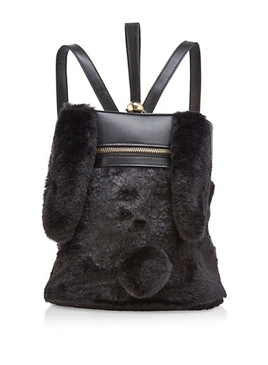 Faux Fur Bunny Backpack,BLACK,large