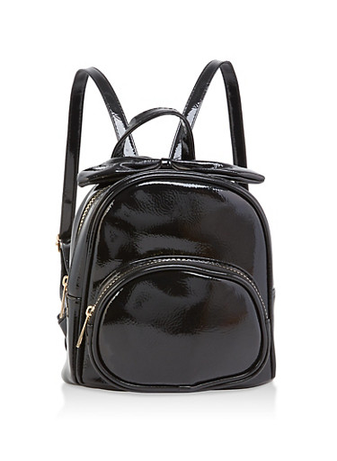Mini Faux Patent Leather Bow Backpack,BLACK,large