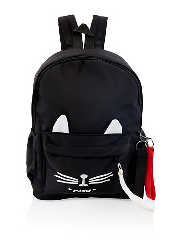 Cat Ear Nylon Backpack,BLACK,large