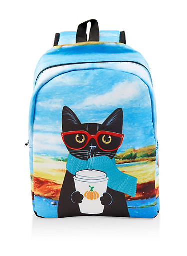 Cat Graphic Backpack,BLUE,large