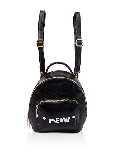 Meow Graphic Mini Backpack,BLACK,large