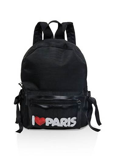 Sequin Paris Patch Backpack,BLACK,large