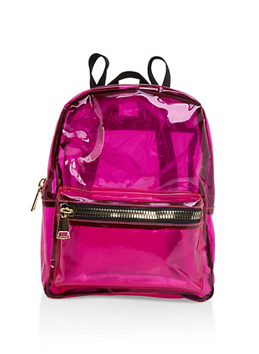 Clear Backpack,FUCHSIA,large