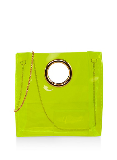 Clear Neon Tote Bag,LIME,large