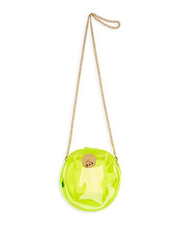 Round Neon Crossbody Bag,LIME,large