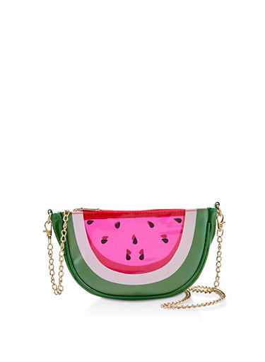 Watermelon Slice Crossbody Bag,RED,large