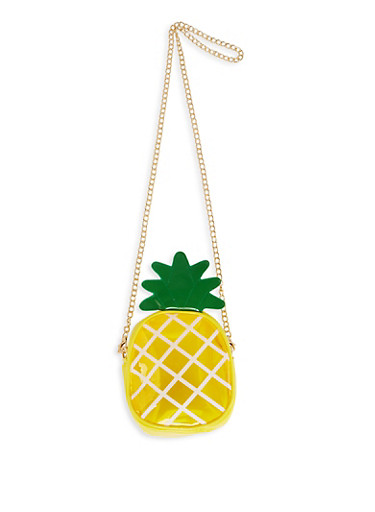 Clear Pineapple Crossbody Bag,YELLOW,large