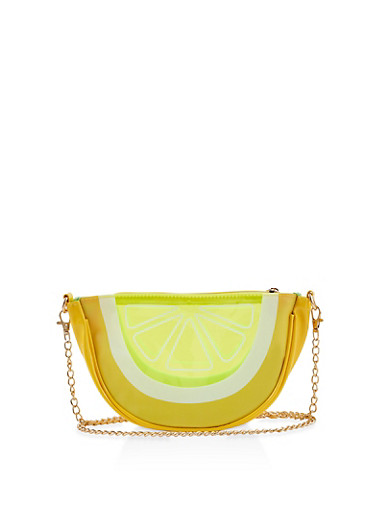 Lemon Wedge Crossbody Bag,YELLOW,large