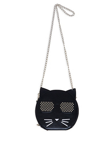 Round Studded Cat Crossbody Bag,BLACK,large