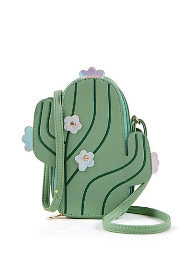 Cactus Crossbody Bag,GREEN,large