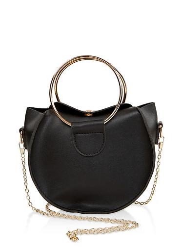 Round Metallic Handle Crossbody Bag,BLACK,large