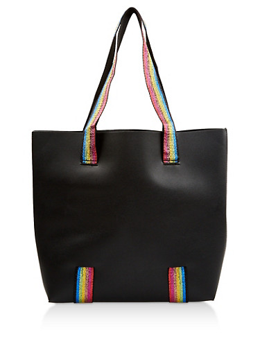 Rainbow Shimmer Strap Faux Leather Tote Bag,BLACK,large