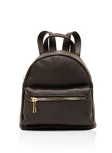 Mini Faux Leather Backpack,BLACK,large